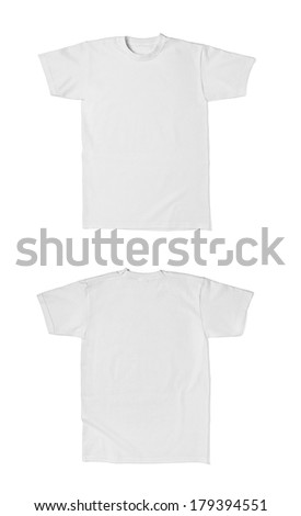 close up of  a white t shirt template front and back on white background. each one is shot separately - stock photo