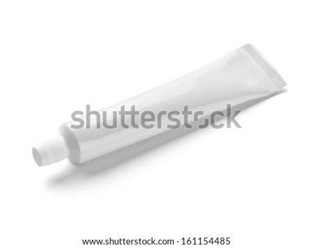 close up of  a white tube on white background