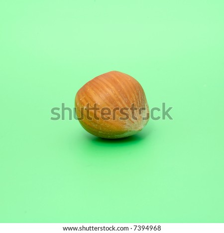 close-up of a whole hazelnut isolated on green background - stock photo
