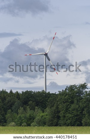 Close up of a wind generator in a partially cloudy day