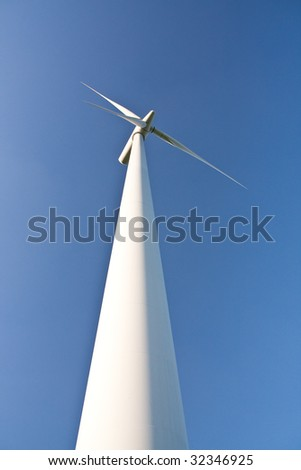 close-up of a windmill on blue sky