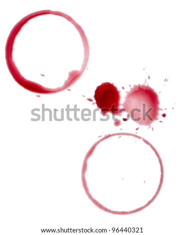 close up of  a wine stain on  white background with clipping path - stock photo