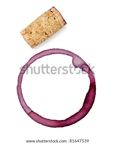 close up of  a wine stains and cork opener on  white background with clipping path - stock photo