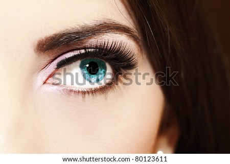 Close up of a woman blue eyes.