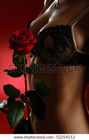 Close up of a woman body with a red rose on red background - stock photo