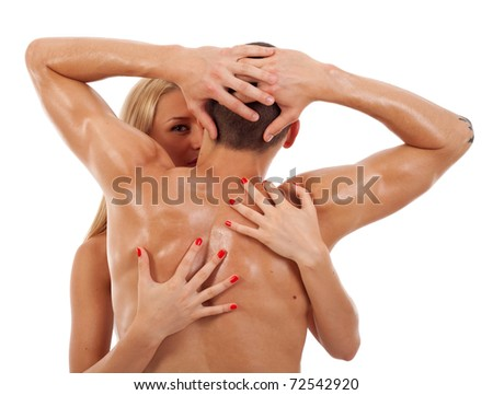 Close-up of a woman embracing her lover on white background - stock photo