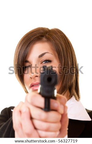 close-up of a  woman holding pistol pointing focusing on you