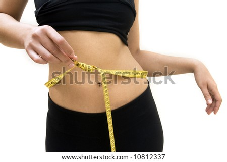 Close-up of a woman measuring her waist with a measuring tape
