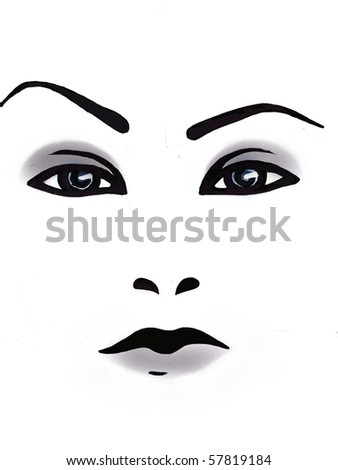 close up of a woman's face - stock photo