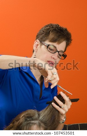 Close-up of a woman stylist cutting hair - stock photo