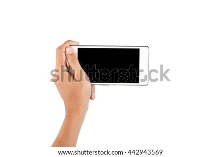 Close-up of a woman typing on mobile phone isolated on white background,Woman's hand holding smartphone.