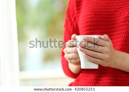 Close up of a woman wearing red sweater with hands holding a coffee cup beside a window with a green background outside - stock photo
