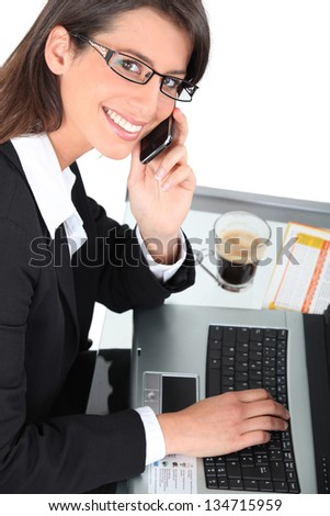 close-up of a woman with cup of coffee - stock photo