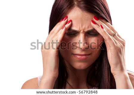 Close up of a woman with strong migraine, isolated on white background - stock photo