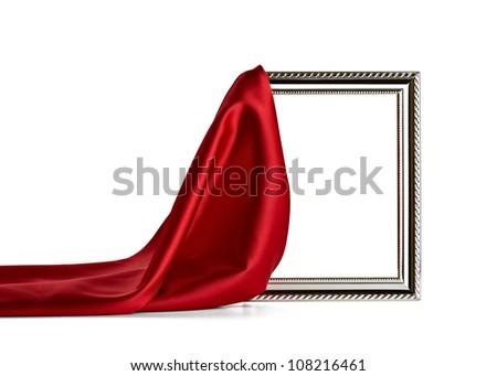 close up of  a wooden frame covered with silk on white background with clipping path