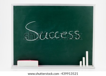 Close up of a word Success drawing on a blackboard with Chalks and Eraser.isolated on white background. - stock photo