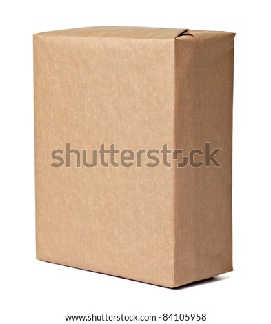 close up of a wrapped box on white background - stock photo