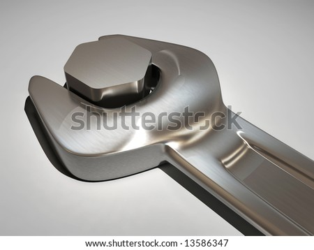 Close up of a wrench and a bolt - 3d render