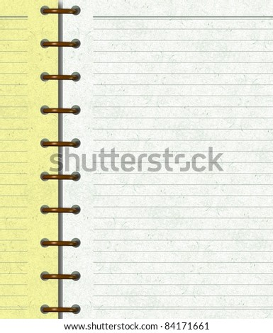 Close up of a yellow and white colored notebook / Notebook