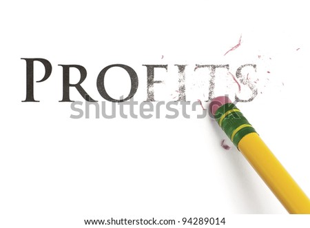 Close up of a yellow pencil erasing the word, 'Profits'. Isolated on white. - stock photo