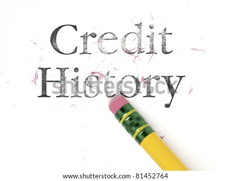 Close up of a yellow pencil erasing the words, 'Credit History.' Isolated on white.