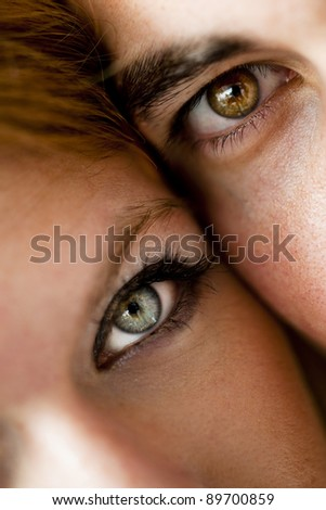 Close-up of a young couple having fun - stock photo