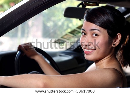 close up of a young female driver