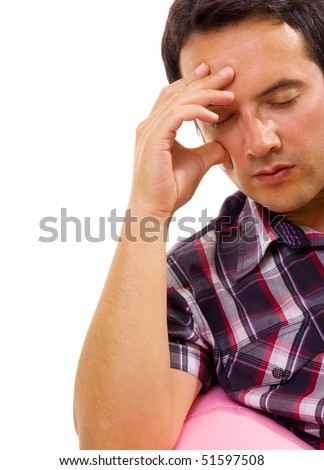 close-up of a young man that has an intense headache, isolated on white - stock photo