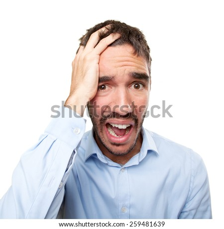 Close up of a young man with depression gesture - stock photo