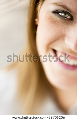 Close-up of a young woman - stock photo