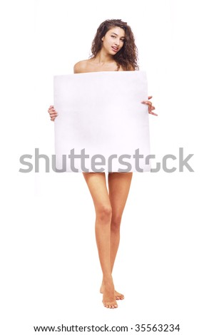 Close-up of a young woman holding blank placard - stock photo
