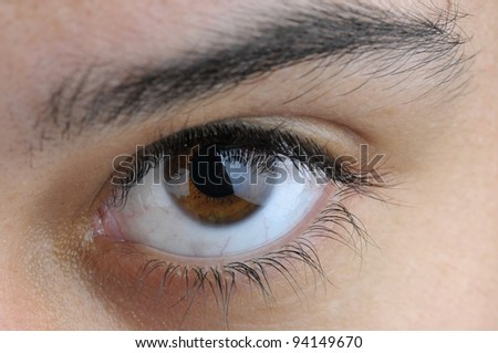 Close-up of a young woman's eye - stock photo