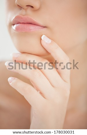 Close-up of a young woman's sensual mouth.