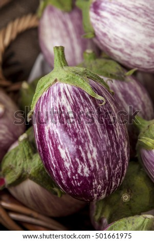 Close up of a zebra eggplant.