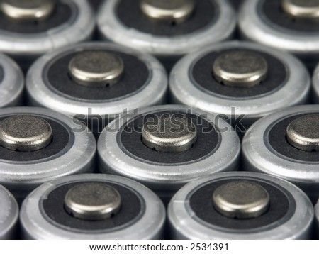 Close-up of AA batteries. - stock photo