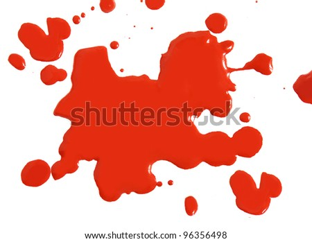 Close up of abstract red blood drops on white background