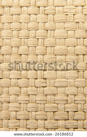 Close up of abstract yellow woven thatch textured background - stock photo