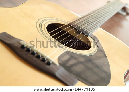 close-up of acoustic classic guitar on white background