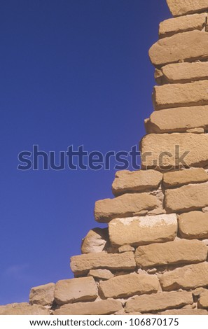 Close-up of adobe brick wall, circa 1060 AD, Chaco Canyon Indian ruins, The Center of Indian Civilization, NM - stock photo