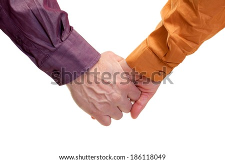 Close up of adult hands isolated - stock photo