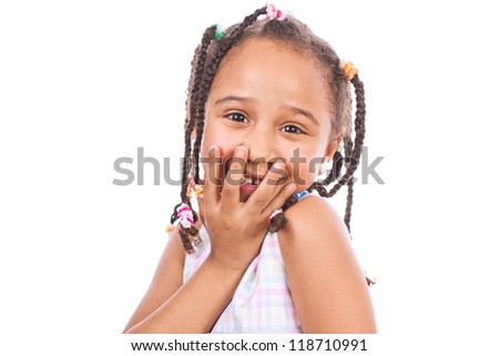 Close-up of african happy little girl, isolated on white - stock photo