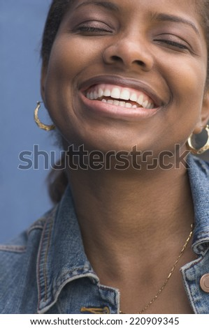 Close up of African woman laughing