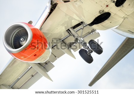 Close up of airplane engine - stock photo