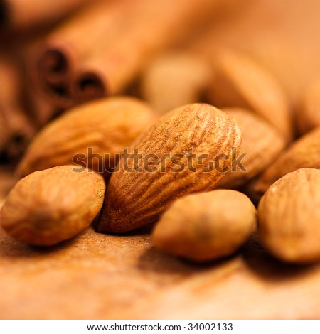 Close up of almonds - stock photo