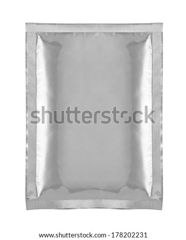 close up of aluminum bag package on white background