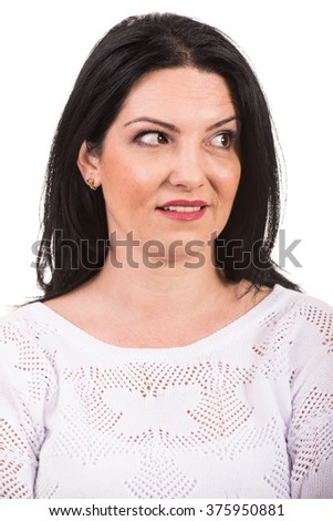 Close up of amazed woman face looking away isolated on white background
