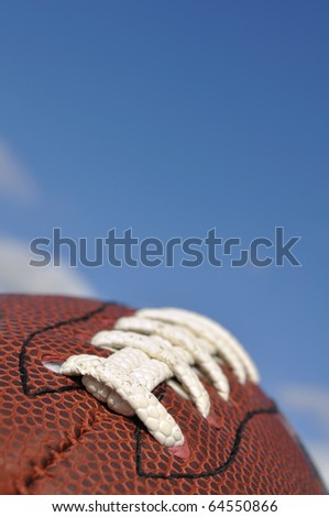 Close-up of American Football Texture and Laces with Selective Focus - stock photo