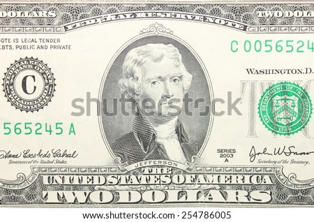 Close up of american two dollar bill.