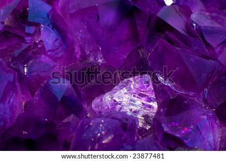 Close-up of amethyst crystals. - stock photo