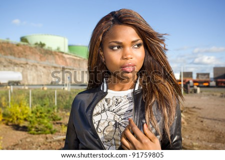 Close-up of an African American woman posing - stock photo